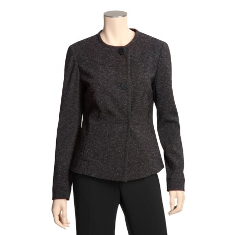 Atelier Tweed Jacket - Round Neck, Collarless (For Women)