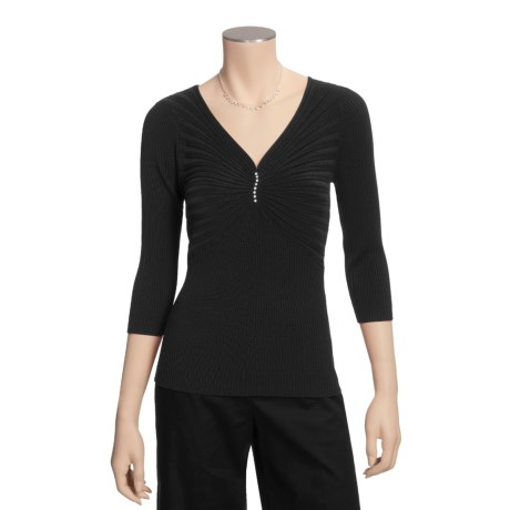 Katherine Barclay Ribbed Shirt - Silk-Rich, 3/4 Sleeve (For Women)