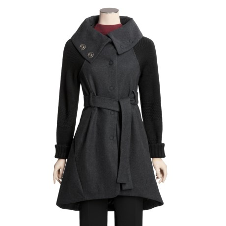 Katherine Barclay Melton Wool Coat - Knit Sleeves, Belted (For Women)