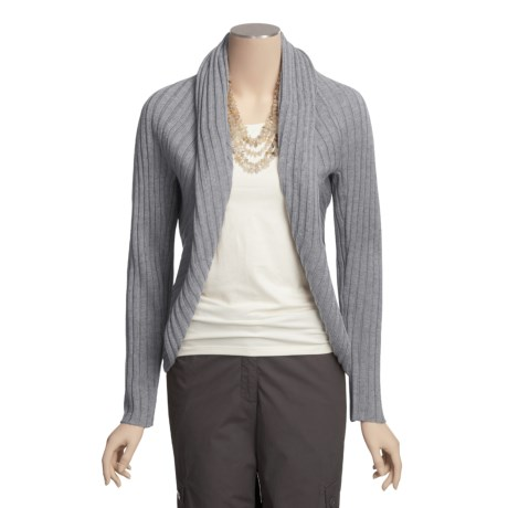 Katherine Barclay Ribbed Cardigan Sweater - Open Front (For Women)
