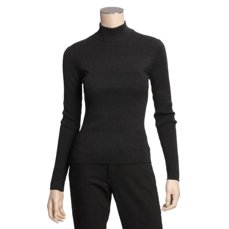 Katherine Barclay TENCEL®-Cotton Sweater- Ribbed Mock Turtleneck, Long Sleeve (For Women)