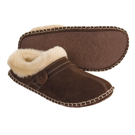Clarks Crepe Suede Slippers - Faux-Fur Lining (For Women)
