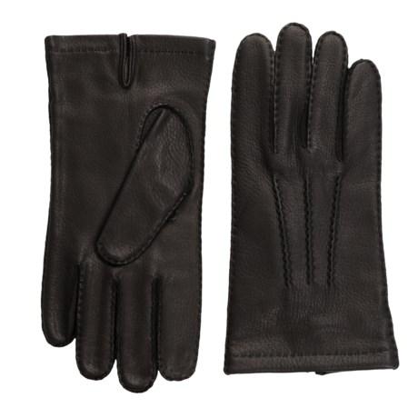 Portolano Corded Rock-Sewn Deerskin Gloves - Cashmere Lined (For Men)