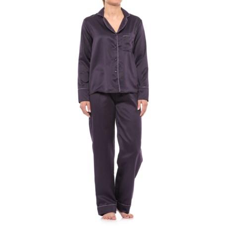 Tahari Notch Collar Satin Pajamas - Long Sleeve (For Women)