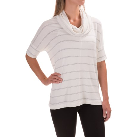 Specially made Cowl Neck Striped Shirt - Stretch Rayon, Short Sleeve (For Women)