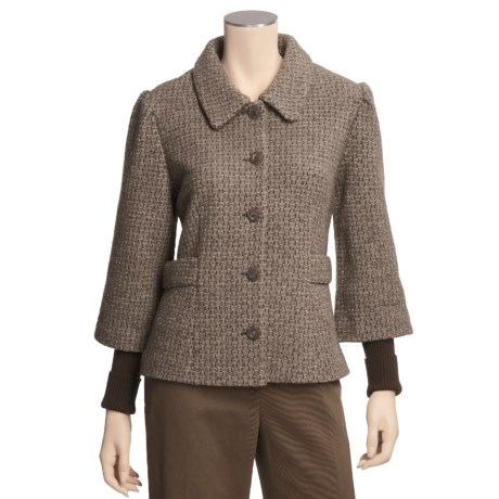 Icelandic Design Wool Tweed Jacket - Lined, Ribbed Sleeves (For Women)