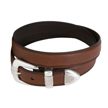 AA&E Leathercraft Domed Leather Belt - Oil-Tanned Cowhide (For Men)