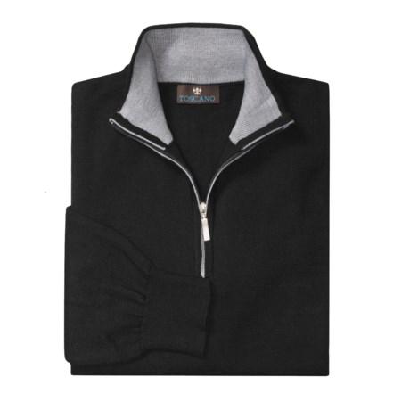 Toscano Mock Turtleneck Sweater - Merino Wool, Quarter Zip (For Men)