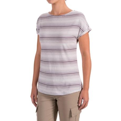 White Sierra Day Tour Striped T-Shirt - Cotton-Modal, Short Sleeve (For Women)
