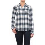 Workshop Republic Clothing Fringed Hem Plaid Shirt - Long Sleeve (For Women)