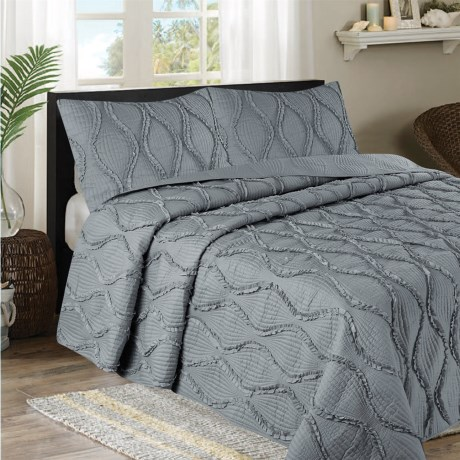 CHD Home Grace Collection Ruffle Quilt Set - Queen, 3-Piece
