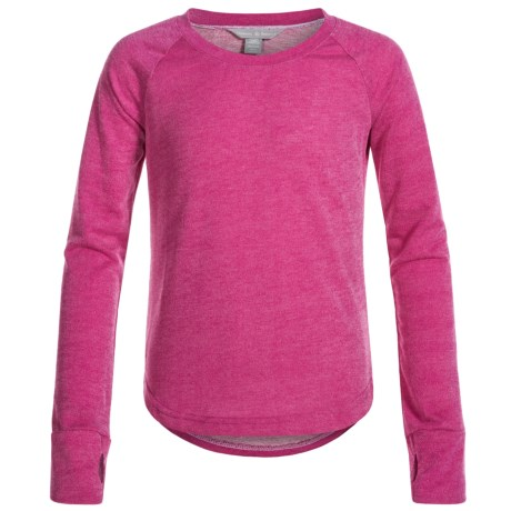 Harmony and Balance Keyhole Back Terry-Knit Shirt - Long Sleeve (For Big Girls)