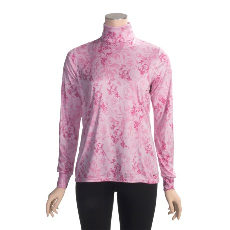 Hot Chillys Peachskins Print Turtleneck - Midweight Base Layer, Long Sleeve (For Women)