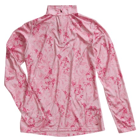 Hot Chillys Peachskins Print Zip Neck Top - Midweight Base Layer, Long Sleeve (For Women)