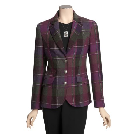 Steinbock Plaid Blazer - Antique Buttons (For Women)