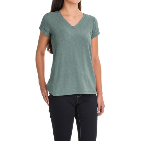 Lucy & Laurel V-Neck Slubbed T-Shirt - Short Sleeve (For Women)