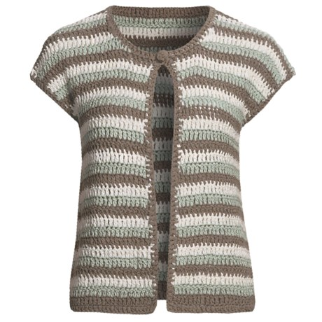 Lauren Hansen Striped Cardigan Sweater - Tape Yarn, Crocheted (For Women)