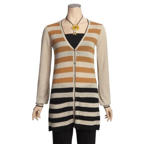 Lauren Hansen Stripe Boyfriend Cardigan Sweater - Linen-Cotton, Long Sleeve (For Women)
