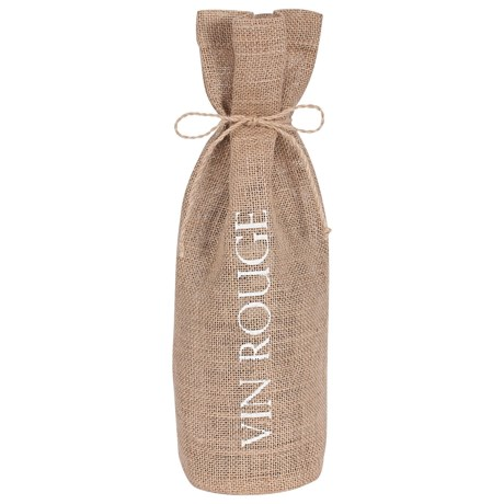 KAF Home Jute Drawstring Wine Bag