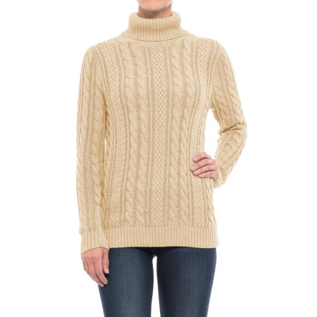 Jeanne Pierre Fisherman Cable-Knit Turtleneck Sweater (For Women)