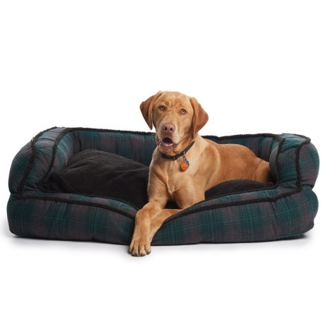 """Telluride Seattle Plaid Bolster Dog Bed - 43x29"""""""