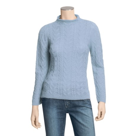Balbianello L'Alpaca by  Cable Sweater - Baby Alpaca, Mock Neck (For Women)