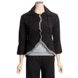 CoVelo Yvette Cardigan Sweater - Silk-Chiffon Trim, 3/4 Sleeve (For Women)