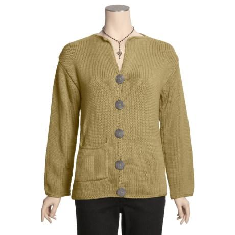 Pure Handknit Split Collar Cardigan Sweater - Cotton (For Women)