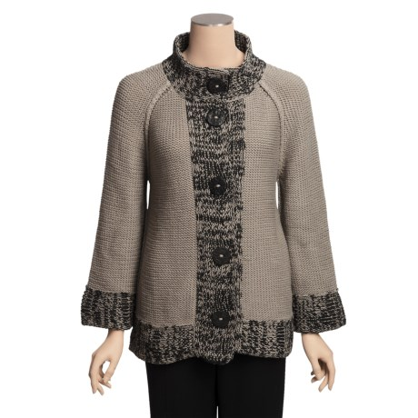 Pure Handknit Cotton Cardigan Sweater - Marled Trim, 3/4 Sleeve (For Women)