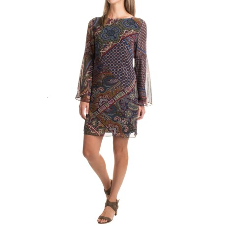 Chelsea & Theodore Printed Chiffon Dress - Boat Neck, Long Sleeve (For Women)