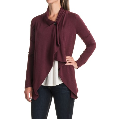CG Cable & Gauge Baby Terry Single-Button Cardigan Sweater (For Women)