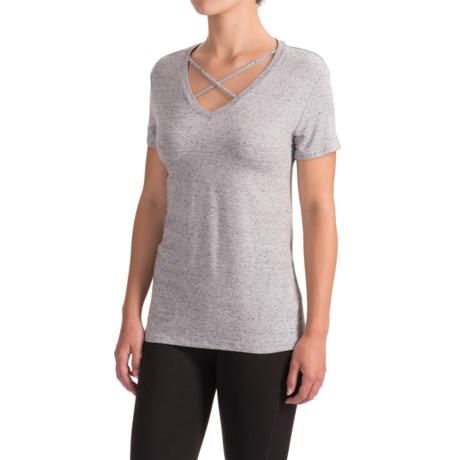 X by Gottex V-Neck Cross-Stripe T-Shirt - Short Sleeve (For Women)