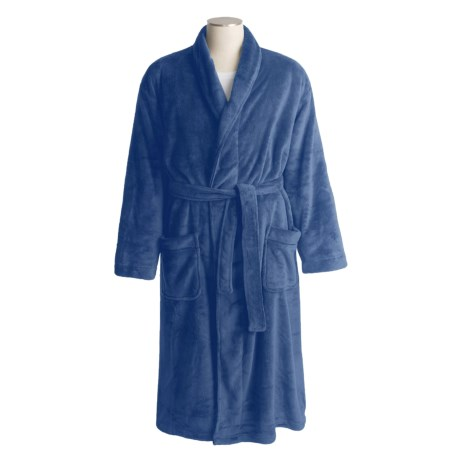 Coral Fleece Wrap Robe - Self-Tie Belt (For Men)