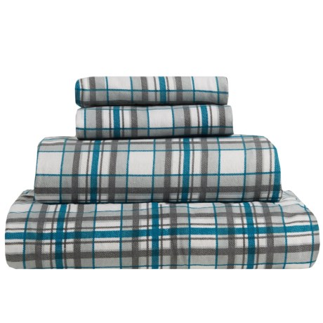 S.L. Home Fashions Johan Plaid Flannel Sheet Set - Full