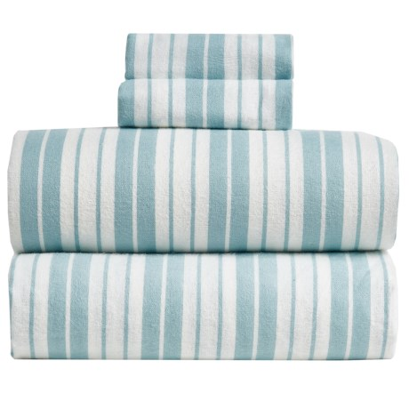 S.L. Home Fashions Vincent Stripe Flannel Sheet Set - Queen