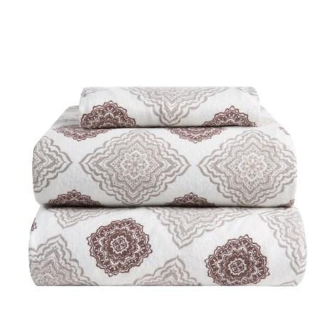 Flannel Comfort Mia Medallion Flannel Sheet Set - Twin