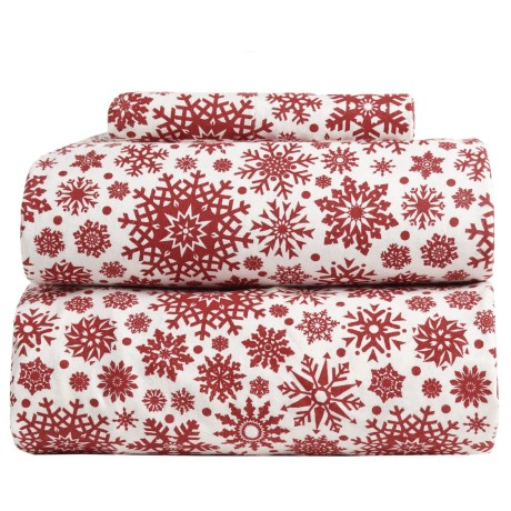 Flannel Comfort Blistery Snowflake Flannel Sheet Set - Twin