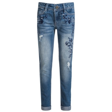 Blue Spice Floral Embroidered Jeans - Skinny Leg (For Big Girls)
