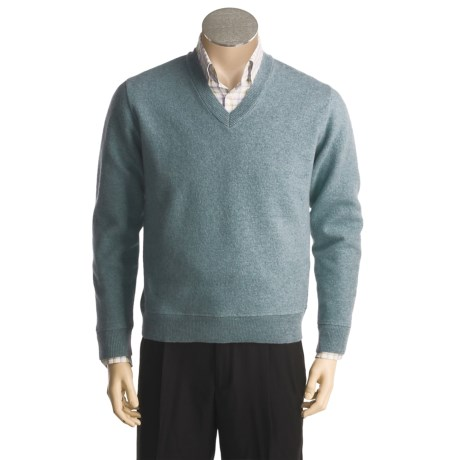 Cullen Boiled Lambswool V-Neck Sweater - Elbow Patches (For Men)