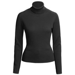 August Silk 4x2 Ribbed Turtleneck - Long Sleeve (For Women)