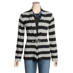 August Silk Warm Hand Flyaway Cardigan Sweater - Striped, Silk-Rich (For Women)