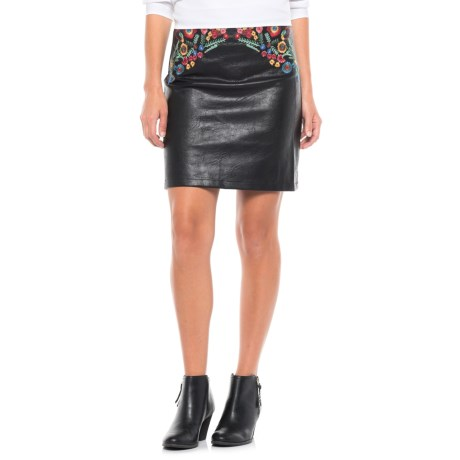 For the Republic Faux-Leather Embroidered Skirt (For Women)
