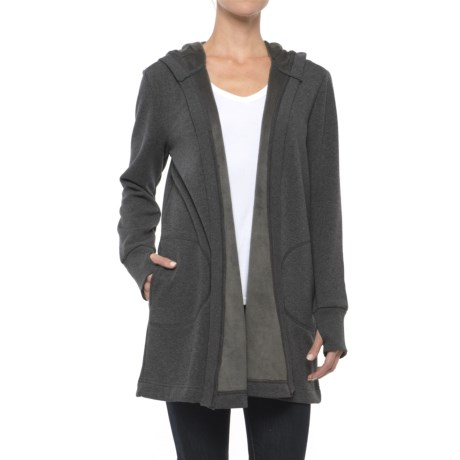 Workshop Republic Clothing Open-Front Hooded Cardigan Shirt (For Women)