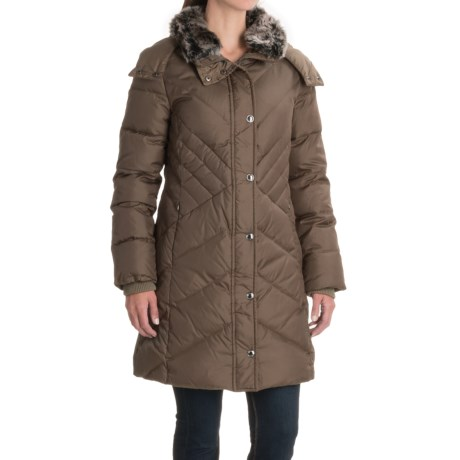 London Fog Long Hooded Down Quilted Jacket (For Women)