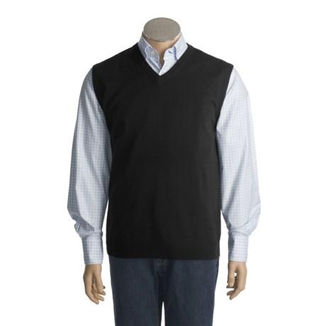 Cullen Solid Sweater Vest - Cashmere, V-Neck (For Men)