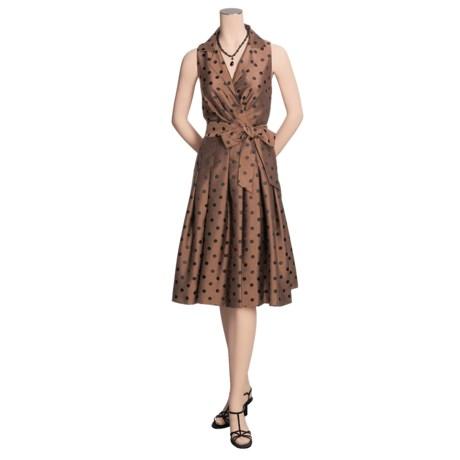 Jessica Howard Polka Dot Metallic Shirt Dress - Belted, Sleeveless (For Women)