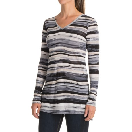 Kensie Striped Side-Slit Shirt - Long Sleeve (For Women)