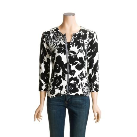 Tyler Boe Print Cardigan Sweater - Cotton-Silk, 3/4 Sleeve (For Women)