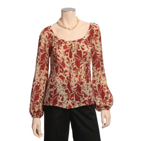 Audrey Talbott Silk Peasant Blouse - Paisley, Long Sleeve (For Women)