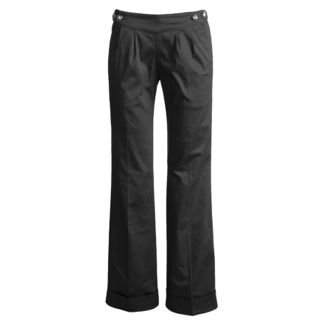 Infantry Division Sailor-Style Pants - Stretch Cotton, Pleated, Cuffed (For Women)